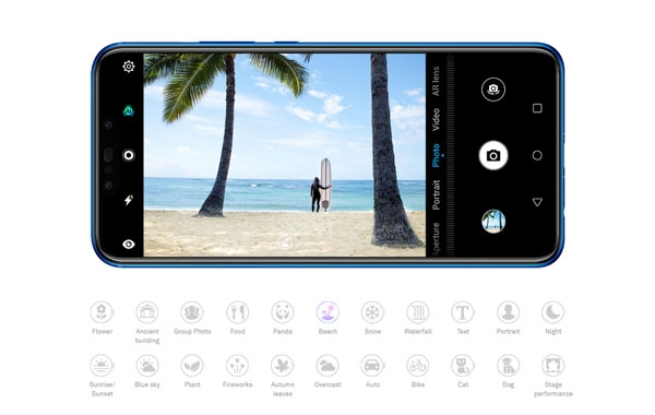 Different scenes that the Huawei Nova 3i can identity with A.I.