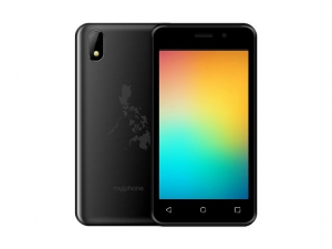 The MyPhone myA11 smartphone in black.