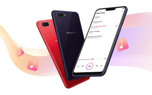 The OPPO A3s comes in red and dark purple color variants.