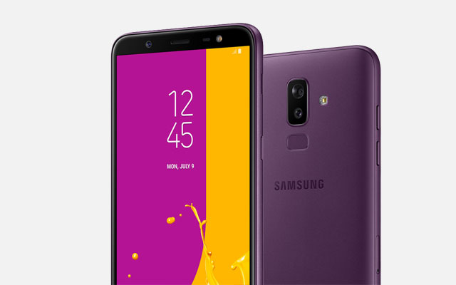 The Samsung Galaxy J8 in purple.