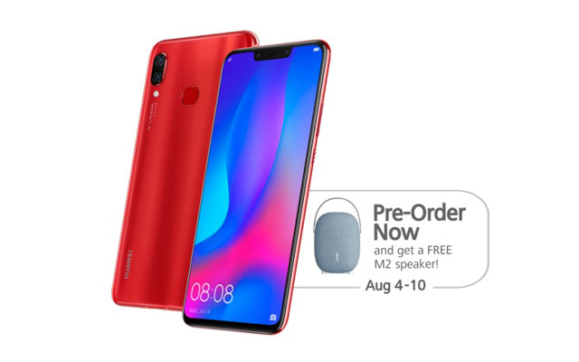 The Huawei Nova 3 comes in black, blue and red color options.