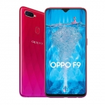 The OPPO F9 smartphone in sunrise red color.