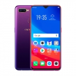 The OPPO F9 smartphone in starry purple and sunrise red.