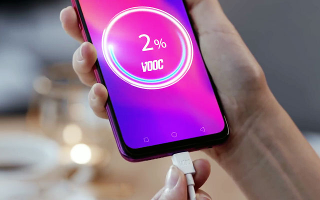 Charging the OPPO F9.