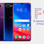 The OPPO F9 in three colors - starry purple, twilight blue and sunrise red.