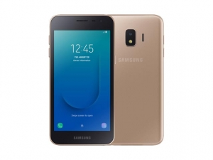 The Samsung Galaxy J2 Core smartphone in gold.