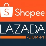 Shopee and Lazada logos.