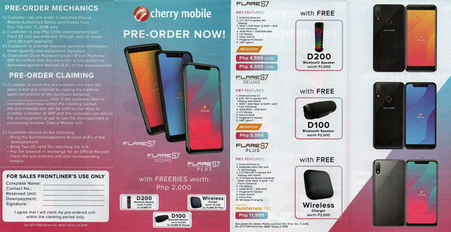 Leaked pre-order form of the Cherry Mobile Flare S7 series with the phone's prices and freebies.