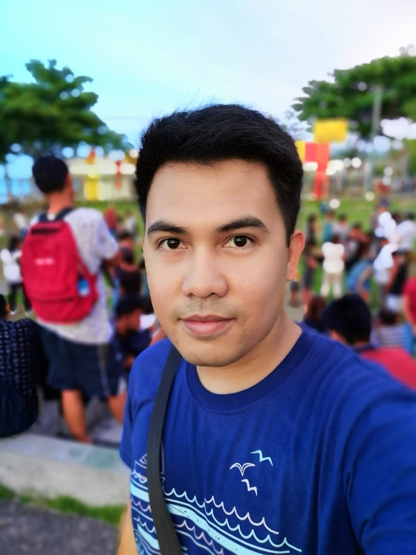Selfie with bokeh and beautification.