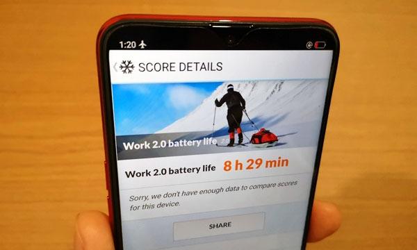 OPPO F9 battery life test result.