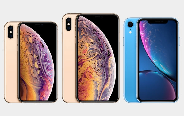 Size comparison of the iPhone Xs, iPhone Xs Max and iPhone Xr.