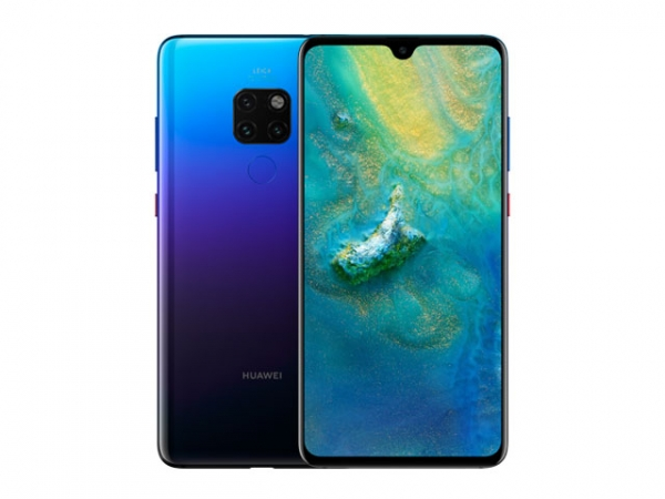 The Huawei Mate 20 smartphone in twilight color.