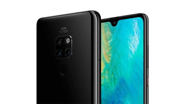 Huawei Mate 20 smartphone in black.