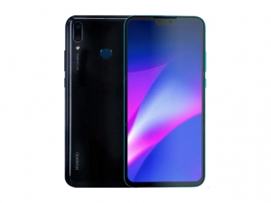 The Huawei Y9 2019 smartphone in blue (front) and black (back).