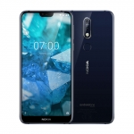 The Nokia 7.1 smartphone in blue.