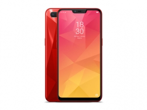 The Realme 2 smartphone in red color.