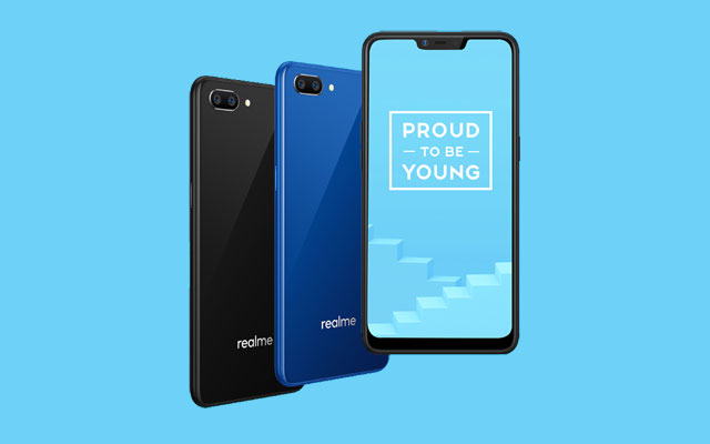 The Realme C1 in black and blue.