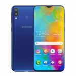 The Samsung Galaxy M20 smartphone in blue.