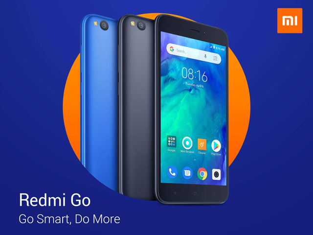 The Redmi Go smartphone in black and blue color choices.