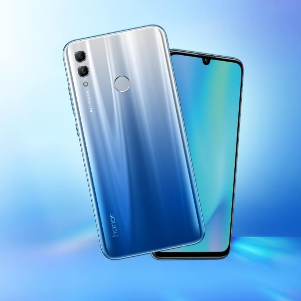 The Honor 10 Lite smartphone in sky blue.