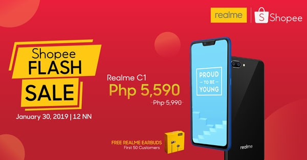 First Realme C1 flash sale on Shopee.