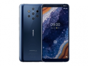 The Nokia 9 PureView smartphone in blue.