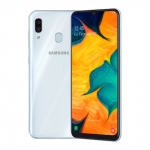 The Samsung Galaxy A30 smartphone in white