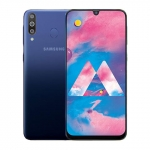The Samsung Galaxy M30 smartphone in blue.
