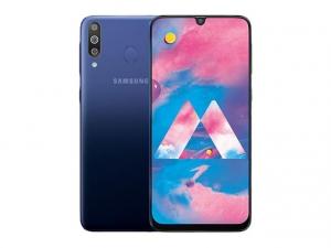 The Samsung Galaxy M30 smartphone in blue.