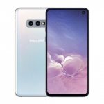 The Samsung Galaxy S10e smartphone in white color.