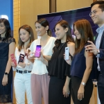 Samsung execs pose with the Samsung Galaxy S10 smartphones.