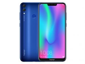 The Honor 8C smartphone in blue.