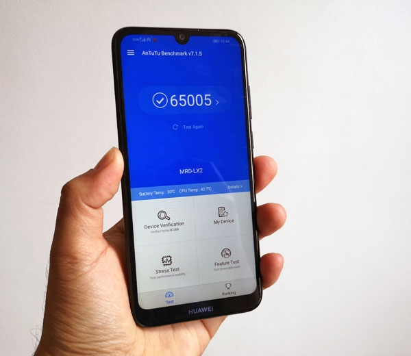 The Huawei Y6 Pro 2019 scores 65,005 points on Antutu!