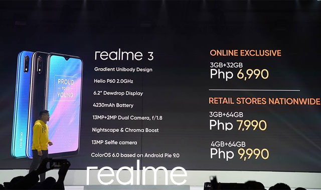 Official price of the Realme 3 in the Philippines.