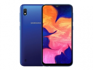 The Samsung Galaxy A10 smartphone in blue.