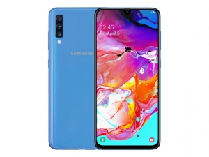 The Samsung Galaxy A70 smartphone in blue.