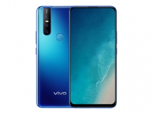 The Vivo V15 smartphone in Topaz Blue color.