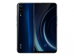The Vivo iQOO gaming smartphone in blue.