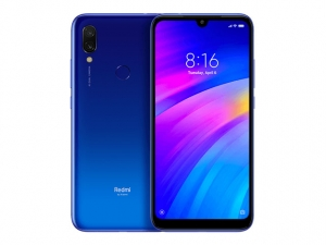 The Xiaomi Redmi 7 smartphone in blue color.
