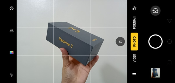 Camera UI of the Realme 3.