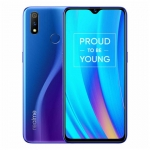 The Realme 3 Pro smartphone in Nitro Blue color.