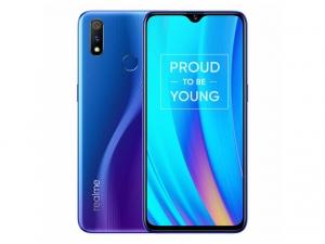The Realme 3 Pro smartphone in Nitro Blue color.