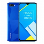 The Realme C2 smartphone in Blue Diamond color.