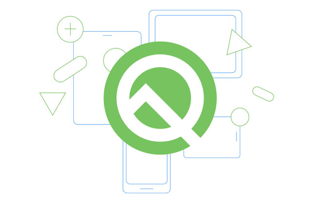 Android 10 Q Beta logo.