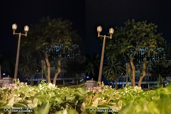 Huawei P30 Lite sample picture with no night mode (left) and with night mode (right).