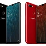 The OPPO A5s smartphone in black and red.