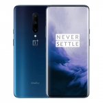 The OnePlus 7 Pro smartphone in Nebula Blue color.