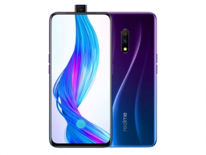 The Realme X smartphone in Punk Blue color.