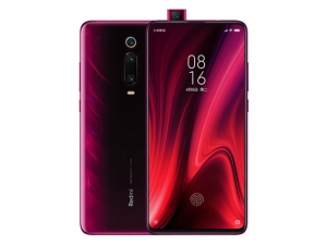 The Redmi K20 Pro smartphone in flame red color.