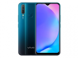 The Vivo Y17 smartphone in mineral blue color.